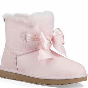 ugg mini gita bow seashell pink women's boots